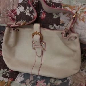 Coach Bag. White with pink trim
